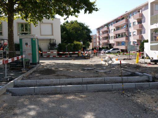 Nouvelle teinte pour le quartier de Lancy Square au Petit-Lancy, Suisse