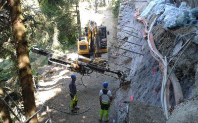 Reconstruction d'un mur effondré à Veyrier-du-Lac (74)